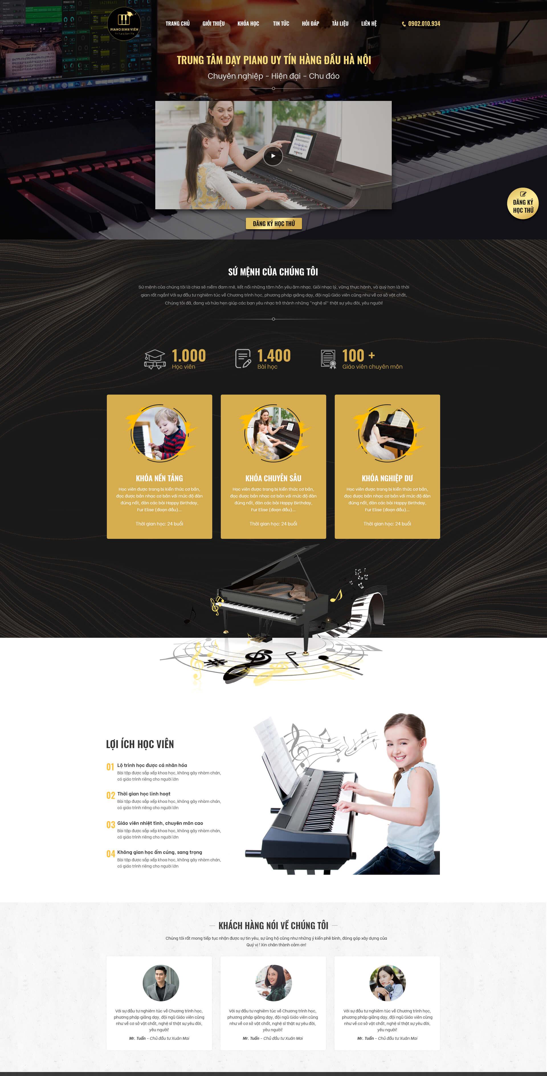 Mẫu web dạy học đàn piano