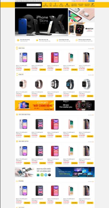 Mẫu web bán hàng điện thoại