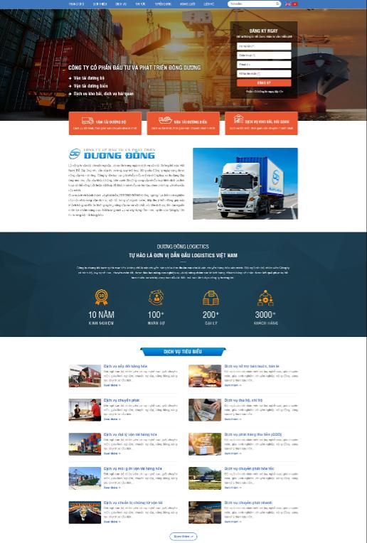 Mẫu website vận chuyển RT