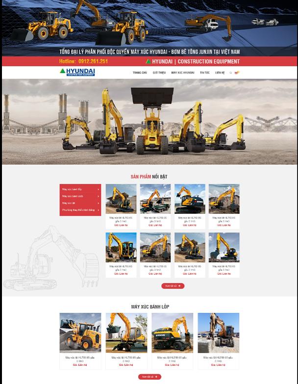 Mẫu web máy móc thiết bị xây dựng RT